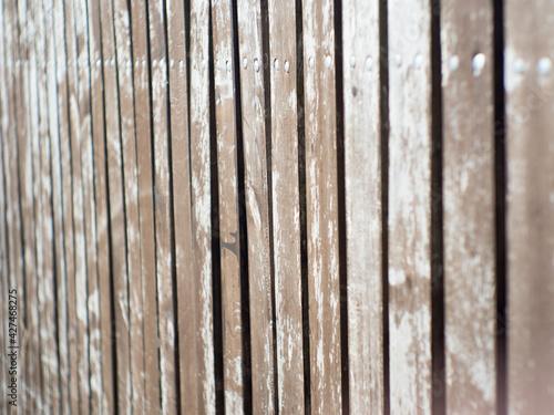 Fototapeta stare drewniane sztachety w płocie  obraz
