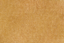 Yellow Fabric, Woven Texture Close-up, Jute, Canvas. Abstract Pattern For Background, Copy Space