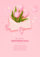 Mother's Day Banner, Poster Or Greeting Card With Realistic Tulip Flowers, Petals And Envelope On Pink Background