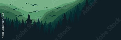 Slika na platnu Forest mountain silhouette flat design vector illustration for background, banne