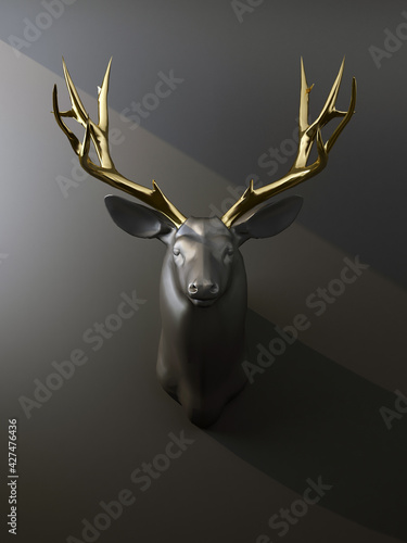 Fotografering deer head with golden antlers on the wall