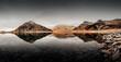 Bergsee Lago di Montespluga in der Region Lombardei in der Provinz Sondrio in Italien an der Splügenpassstrasse an einem bewölkten Tag