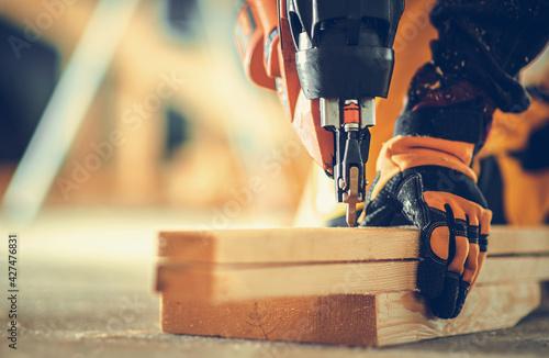 Canvas Print Powerful Nail Gun Construction Job