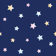 Seamless Pattern Of Stars On Blue Background.