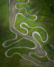 Aerial View Of The Dirt Road Used For Off Track Racing Near Old Fields In West Virginia, USA