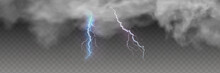 Vector Realistic Dark Stormy Sky With Clouds, Heavy Rain And Lightning Strikes.