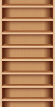 Bookshelf, Wooden Reck With Seamless Shelves, Case With Wood Grain - Can Be Endlessly Extended Upwards And Downwards. Vector Illustration.