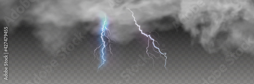 Fotografia Vector realistic dark stormy sky with clouds, heavy rain and lightning strikes