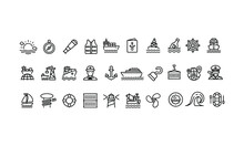 Marine And Shipping Port Line Icons Vector Design