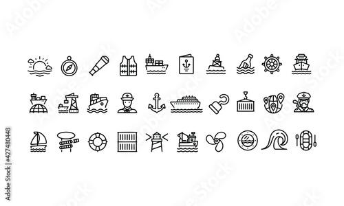 Fotografia, Obraz Marine and Shipping Port Line Icons vector design
