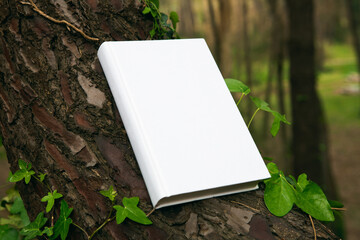 book with blank cover and empty cover perched in a forest