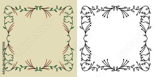 Fototapeta Szablony ramek z wzorem roślinnym w prostym nowoczesnym stylu z listkami - zaproszenia ślubne, tło dla social media stories. obraz