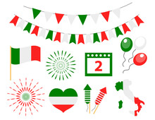 Happy Italy Independence Day Icons Set. Festa Della Repubblica Flag, Bunting, Map, Fireworks. Vector Illustration