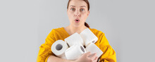 Ops. Woman With Toilet Paper Packing. Panic Concept, Coronavirus Danger. You Cant Leave Your House For Shopping