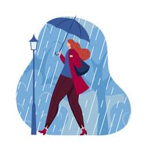 Rain Girl Coming, Umbrella Concept, Autumn Weather, Rainy Season, Water Nature, Design, In Cartoon Style Vector Illustration.