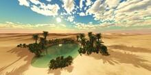 Oasis In The Desert, Palm Trees In The Desert Near The Water, Pond With Palm Trees In The Desert Sand,,, 3d Rendering