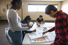 Teen Environmental Activists Making Posters In Community Center