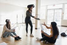 High School Girl Drama Student In Pirate Hat Rehearsing Script