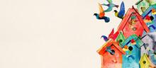 Colours Bird Boxes And Birds. Watercolor Banner, Design Element.