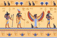 Egyptian Deities On Ancient Bas Relief With Hieroglyphs. Cartoon Vector Illustration. Horus, Thoth, Anubis, Maat Gods, Scarab, Symbols, Hieroglyphics. Ancient Egypt, History, Art, Culture Concept