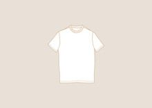 White T-shirt. Vector Graphics And Design. Template.