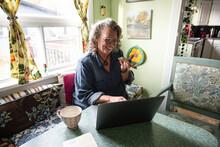 Senior Woman Using Digital Devices By Window