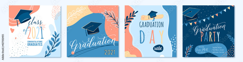 Fototapeta Graduate 2021 vector backgrounds, sale offer banner, greeting cards, party poster. Trendy design congratulation graduation with diploma, cap, plant, dot, organic shape. Modern art in minimalist style