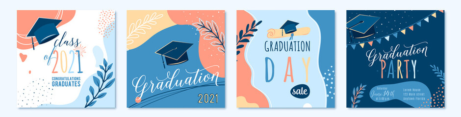 Graduate 2021 vector backgrounds, sale offer banner, greeting cards, party poster. Trendy design congratulation graduation with diploma, cap, plant, dot, organic shape. Modern art in minimalist style