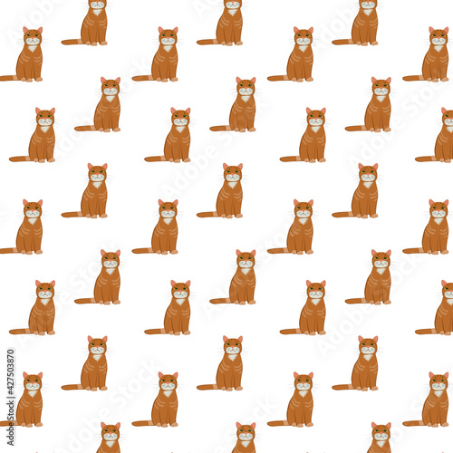 Funny red cat in a pattern for children's products