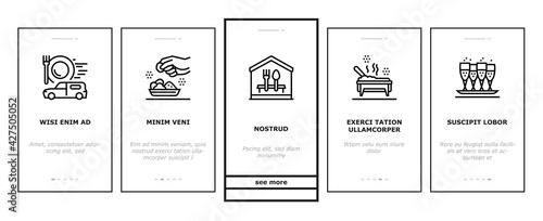 Cuadros en Lienzo Catering Food Service Onboarding Mobile App Page Screen Vector