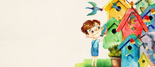 Little Boy And Birds. Watercolor Background For Children