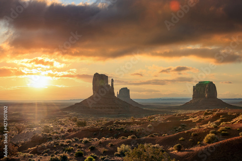 Landscape of Monument valley at sunset. Navajo tribal park, USA.