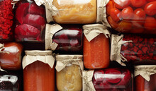 Assortment Of Canned Vegetables And Fruits- Food In Plastic Free Jars On Wooden Rustic Table, Flat Lay, From Above Overhead Top View, Canned Produce, Saving Leftovers Food Storage Organization Concept