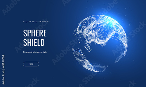 Canvas Print Futuristic sphere vector illustration on a blue background