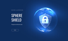 Security, Shield Lock In Futuristic Polygonal Style. Concept Of Internet Privacy Or Cyber Protection Or Antivirus. Vector Illustration