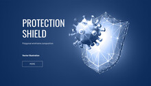 Shield Virus Protection In Futuristic Style For Landing Page. Digital Cyber Shield Protects Immunity From Viruses