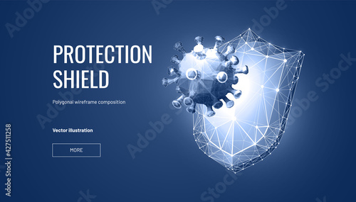 Fotografie, Obraz Shield virus protection in futuristic style for landing page