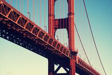 Red Golden Gate Bridge At San Francisco, California