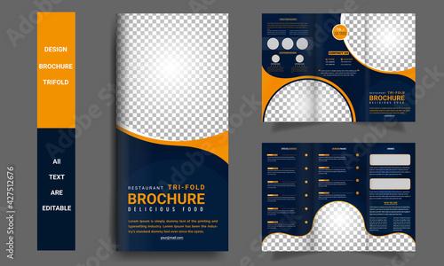 Fotografía Tri fold brochure Restaurant Food template Design and fast food menu