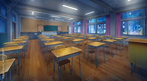 Tela High school classroom in the nighttime and Turn on the light, Anime background, 2D illustration