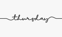 Thursday Handwritten Word Vector On White Background.