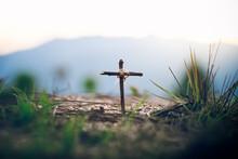 Wooden Cross, Jesus Cross, Easter, Resurrection Concept. Christianity, Religion Concept.