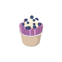 Dessert Rolls Of Ice Cream With Blueberry Berries And Whipped Cream