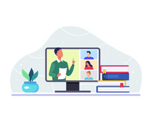 Online Class Meeting Concept. Male Teacher Teaching His College Students Via Video Call App On Computer. Virtual Class Teleconference, Remote Education, Learning From Home. Vector In A Flat Style