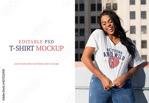 Woman Wearing White Crop Tee Mockup