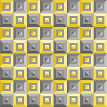 Seamless Abstract Pattern Background. Three-dimensional Yellow Gray Square Checkerboard. Color Trend Of 2021. Textured Design For Fabric, Tile, Poster, Textile, Backdrop, Wall. Vector Illustration.