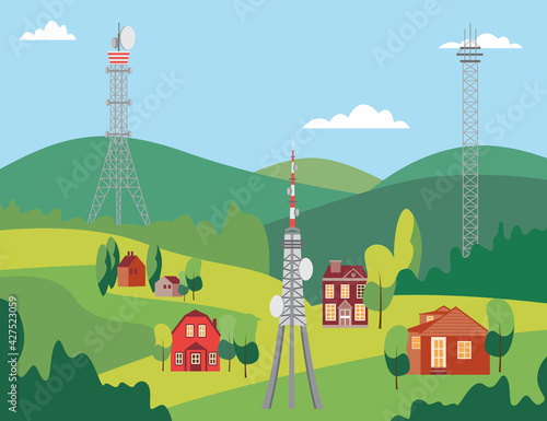 Fototapeta Landscape with telecommunication mobile phone towers, flat vector illustration
