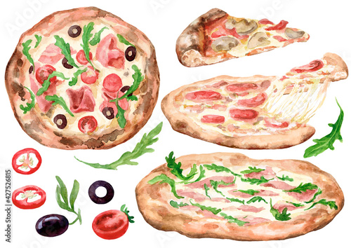 Set. Different pizzas. Arugula, olives. Watercolour. The images are hand-drawn and isolated on a white background.