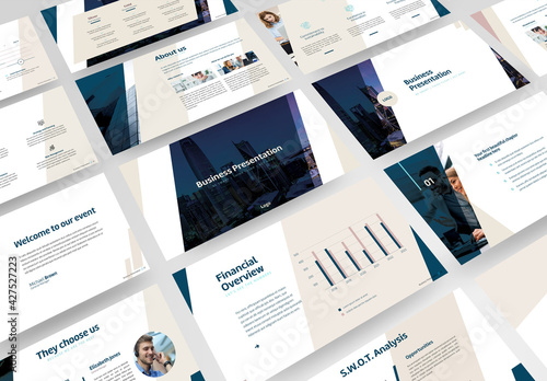 Business Presentation with Blue and Beige Accents