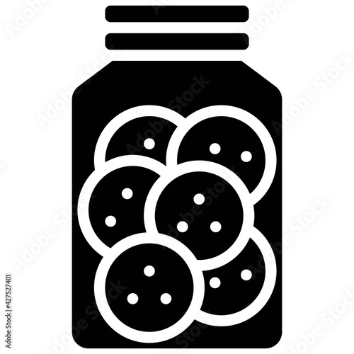 Slika na platnu Cookie jar icon, Bakery and baking related vector